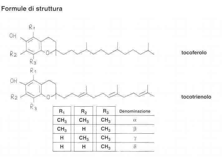 Vitamina E (Tocoferolo): formule di struttura