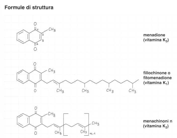 Vitamina K (Fillochinone): formule di struttura
