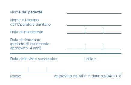Contraccettivi intrauterini: Benilexa patient card