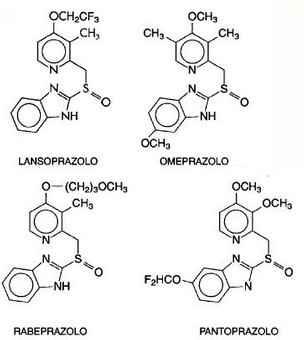 inibitori di pompa protonica: formule chimiche